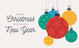 jul och nyårshälsning med hängande julbollar vektor