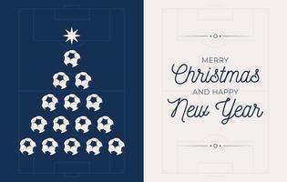 Feiertagsbanner mit Fußball oder Fußballweihnachtsbaum vektor
