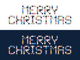 Pixelkunst Frohe Weihnachten Block Typografie vektor