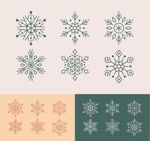 söt linje konst snöflingor samling vektor