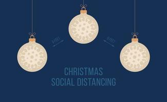 soziale Distanz Weihnachtsbanner mit Ballschmuck vektor