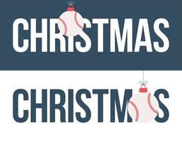 baseball ornament jul horisontell banneruppsättning vektor