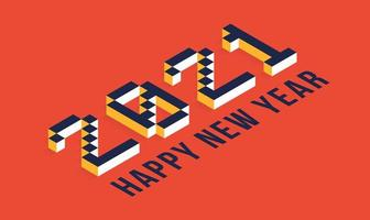 2021 Frohes Neues Jahr isometrische Typografie