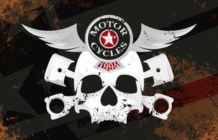 Vintage Motorcykel Emblem Retro Grunge Bakgrund Vector