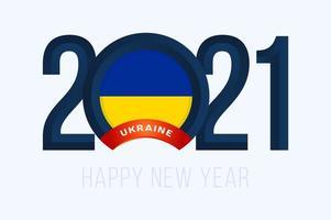 nyår 2021 typografi med Ukrainas flagga vektor