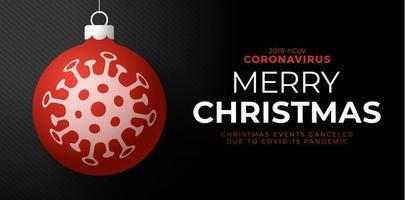 rotes Coronavirus-Weihnachtsballplakat vektor