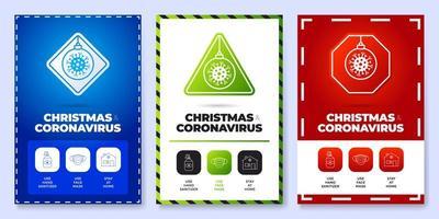 Weihnachten Coronavirus alles in einem Icon Poster Set vektor