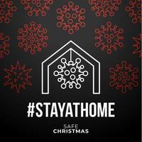 Bleiben Sie zu Hause sicher Weihnachten Coronavirus Poster vektor