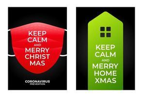 Bleib ruhig Frohe Zuhause Weihnachten Banner Konzept vektor