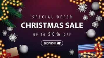 Rabatt-Banner mit Girlande und Weihnachtsbaumzweigen