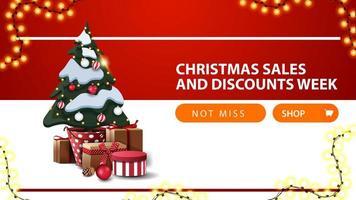 rabatt banner med knapp, krans och julgran