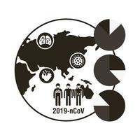 världskarta med coronavirus infographic ikon