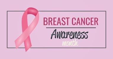 Brustkrebs-Bewusstseinsmonatsplakat mit rosa Band vektor