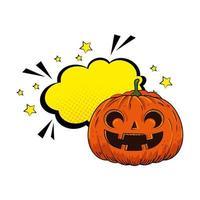 Halloween-Kürbis mit Pop-Art-Sprechblase
