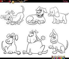 tecknad hund karaktärer ange målarbok sida