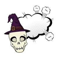 halloween skalle med häxahatt