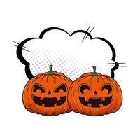 Halloween-Kürbis mit Pop-Art-Wolke vektor