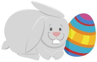 tecknad påskhare med färgglada påskägg