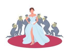 Schauspielerin im Kostüm auf rotem Teppich vektor