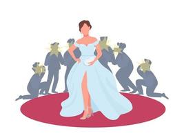 skådespelerska i fin klänning på röda mattan