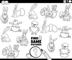 Finde zwei gleiche Ostern Charaktere Spiel Farbbuch