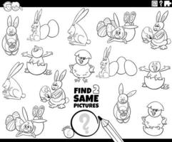 hitta två samma påsk karaktärer spel färg bok