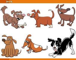 hundar och valpar roliga djur teckenuppsättning vektor