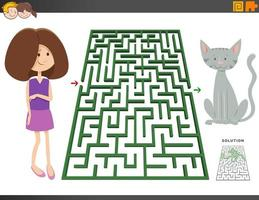 labyrint spel med tecknad flicka och ponny häst vektor