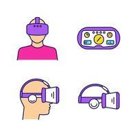 virtuell verklighet färg ikoner set.