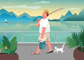 Mann Angelrute am Ufer vektor