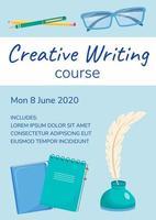 Kursplakat für kreatives Schreiben vektor