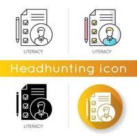 läskunnighet ikonuppsättning