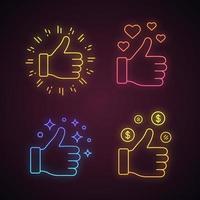 wie Neonlicht Symbole gesetzt. vektor
