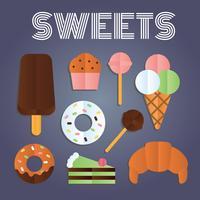 konfekt och sötsaker platt vektor