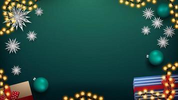 julgrön bakgrund med krans och gröna bollar vektor