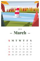 Mars 2018 Landskapskalender vektor