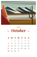 Oktober 2018 Månadskalender vektor