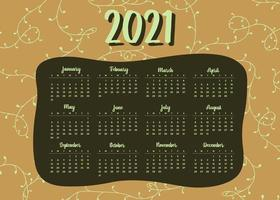 moderner Stil 2021 Neujahrskalender Design vektor