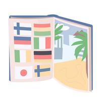 öppen bok med landsflaggor och tropisk strand vektor