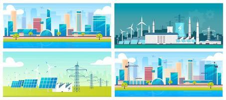 hållbar energi och arkitektur vektor