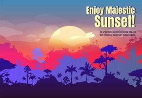 njut av majestätisk solnedgångsaffisch vektor