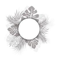 tropisk design med svarta palmblad och växter