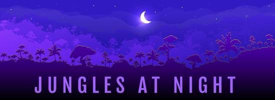 Dschungel bei Nacht Banner vektor