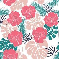sömlöst tropiskt mönster med monstera blad och blommor vektor