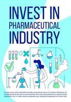 Investieren Sie in ein Poster der Pharmaindustrie vektor