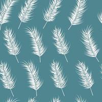 nahtloses Muster mit tropischen Blättern auf blauem Hintergrund vektor
