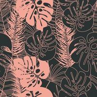 sommar sömlöst tropiskt mönster med monstera palmblad vektor