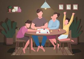 familj spela brädspel vektor