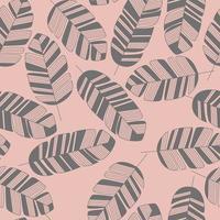 sömlösa mönster med grå löv på rosa bakgrund