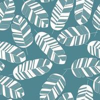 nahtloses Muster mit weißen Blättern auf blauem Hintergrund vektor